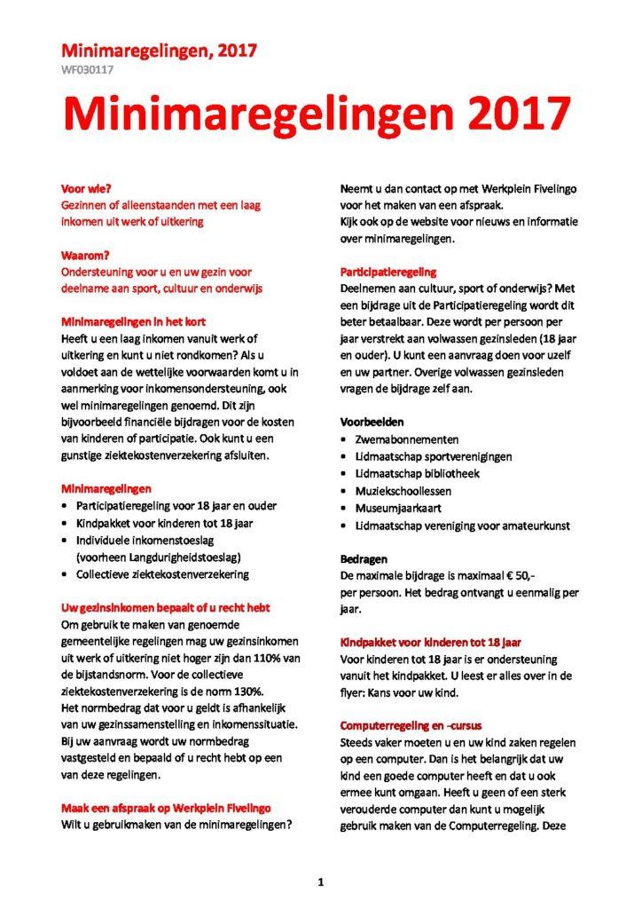 Minima Regeling Werkplein Fivelingo
